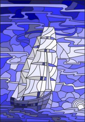 Vinilo Ilustración en estilo vitral con el velero contra el cielo, el mar y el sol poniente. Versión azul