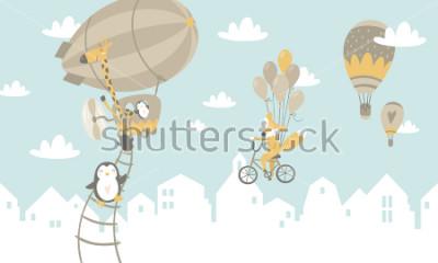 Vinilo Ilustración gráfica de niños. Uso para imprimir en la pared, almohadas, decoración interior de niños, ropa de bebé y camisas, tarjetas de felicitación, vectores y otros.