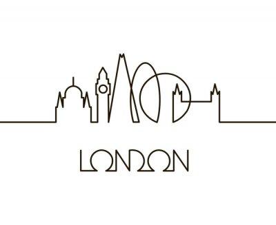 Vinilo Ilustración lineal abstracta de la ciudad de Londres sobre fondo blanco