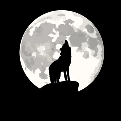 Vinilo Ilustración plaza de lobo aullando a la luna.
