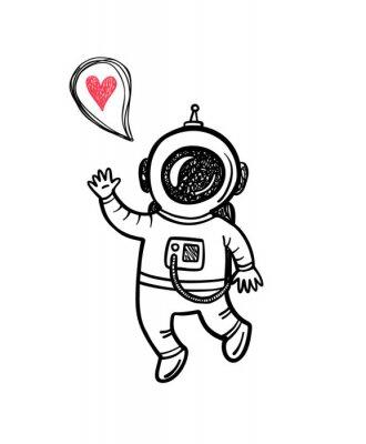 Vinilo Ilustración vectorial con doodle astronauta