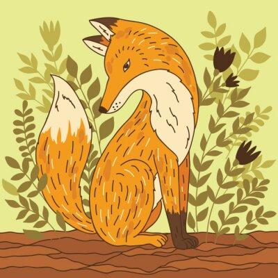 Vinilo Ilustración vectorial con el zorro