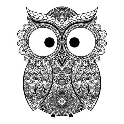 Vinilo Ilustración vectorial de búho ornamental.