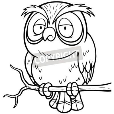 Ilustración vectorial de dibujos animados búho que se sienta vinilos ...