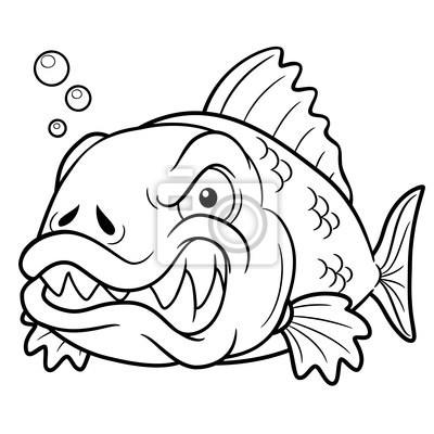 Ilustración vectorial de dibujos animados de pescado enojado vinilos ...