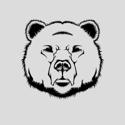Vinilo Ilustración vectorial de la cabeza de oso grizzly