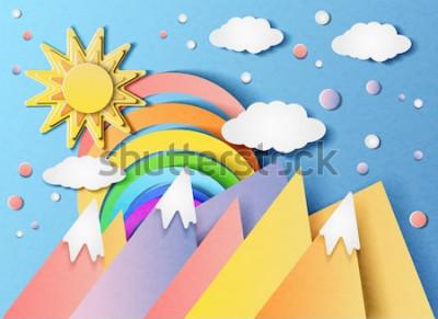 Vinilo Ilustración vectorial de un hermoso paisaje con el sol, arco iris, nubes y montañas. En el estilo de papel cortado.