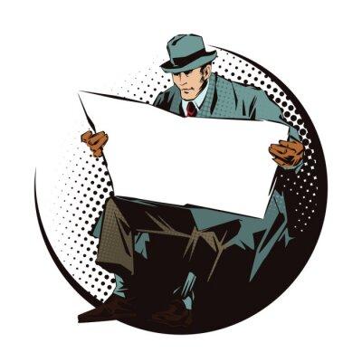 Vinilo Ilustración vectorial. Gente en arte pop retro del estilo y publicidad del vintage. Hombre sentado con periódico. Periódico para su texto.