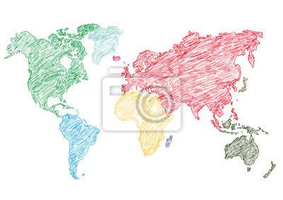 Vinilo Ilustración vectorial mapa del mundo lápiz esbozado