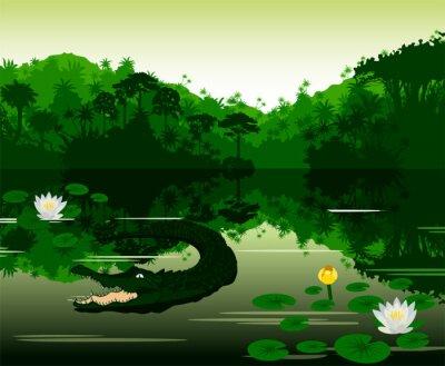 Vinilo Ilustración vectorial Río tropical con cocodrilo