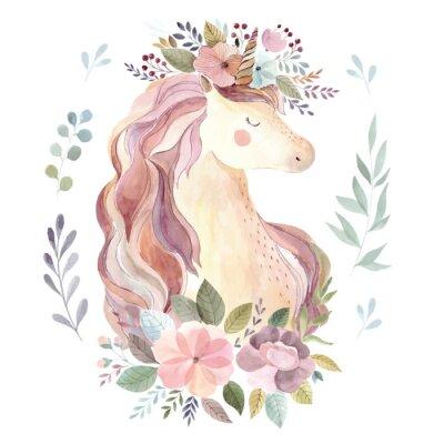 Vinilo Ilustración vintage con unicornio lindo y guirnalda floral