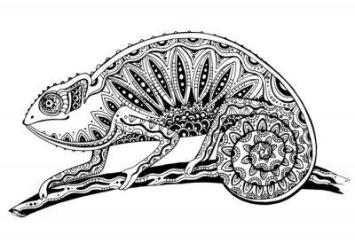 Vinilo imagen del lagarto camaleón blanco y negro en tattoostyle