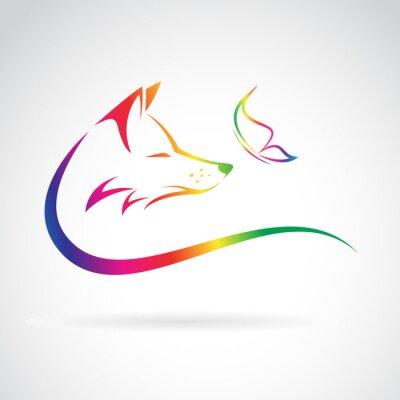 Vinilo Imagen del vector de zorro y mariposa sobre fondo blanco