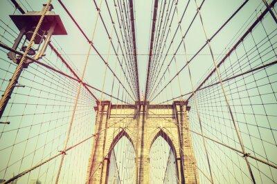 Vinilo Imagen entonada retro del puente de Brooklyn, NYC.