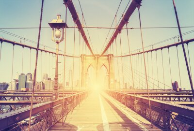Vinilo Imagen estilizada del puente de Brooklyn, NY de la vendimia.