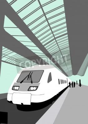 Vinilo Imagen vectorial de un moderno tren de alta velocidad en la estación de tren