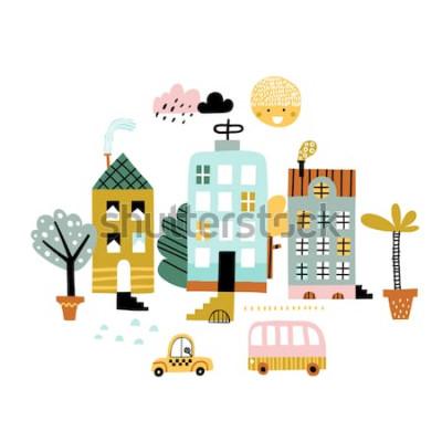 Vinilo Impresión de la ciudad de dibujos animados. Ilustración de vector infantil con rascacielos, edificios y coches. Diseño para póster, tarjeta, bolso y camiseta, tapa. Colores pastel Estilo escandinavo