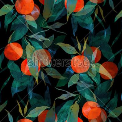 Vinilo Imprime árbol de mandarina subtropical con frutos y hojas. Pintado a mano de patrones sin problemas. digital y acuarela. Fondo para decoración y diseño textil. papel pintado. marco de medios mixtos