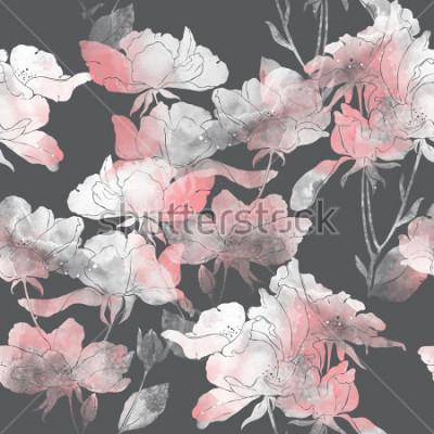 Vinilo Imprime flores y hojas de rosal silvestre. Pintado a mano de patrones sin fisuras. Dibujo digital y textura acuarela. Fondo para decoración y diseño textil. Papel pintado botánico. técnica mixta. marc