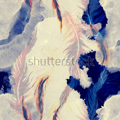 Vinilo imprints flying bird feathers mix seamless pattern. abstract watercolour and digital hand drawn picture. mixed media artwork for textiles, fabrics, souvenirs, packaging and greeting cards.