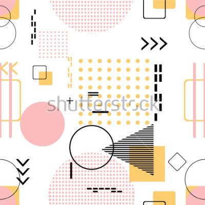 Vinilo Inconsútil de moda, estilo de Memphis con el modelo geométrico, ejemplo del vector con las figuras geométricas. Diseña fondos para invitación, folleto y plantilla de promoción.
