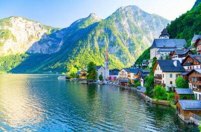 Vinilo Increíble pequeño pueblo alpino Hallstatt, Austria