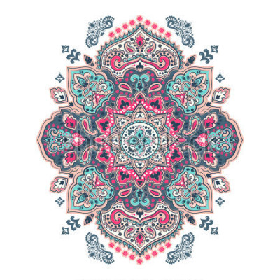 Vinilo Indian floral paisley medallion pattern. Ethnic Mandala ornament. Vector Henna tattoo style. Can be used for textile, greeting card, coloring book, phone case print.