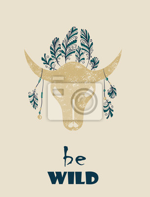 Indio del nativo americano tribal scull tótem toro decorativa ...