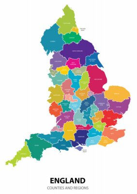 Vinilo Inglaterra Mapa con Regiones