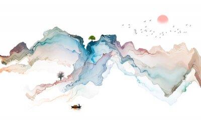 Vinilo Ink landscape decoration illustration abstract line poster background
