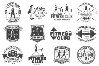Vinilo Insignias del club de fitness. Vector. Para emblemas de centros de fitness, carteles de gimnasios y otros.
