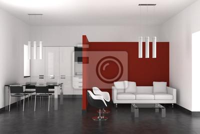 Interior moderno con salón comedor y cocina vinilos para portátiles ...
