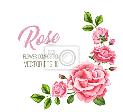 Vinilo Invitación de boda rosa de la acuarela de la acuarela