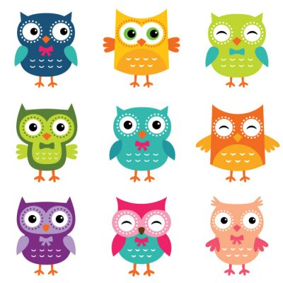 Vinilo Isolated cartoon owls collection