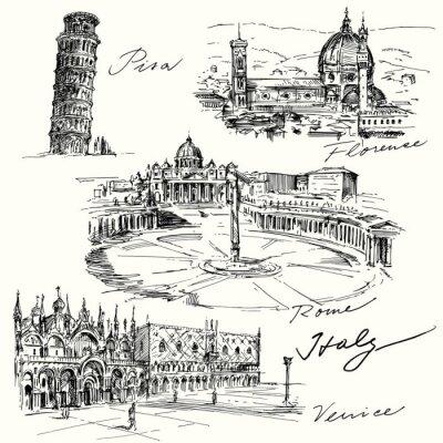 Vinilo Italia - colección de dibujado a mano