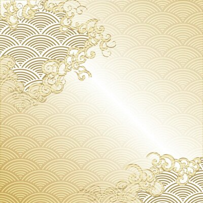 Vinilo Japanese Cloud background with wave pattern vector. Gold Japanese line template.