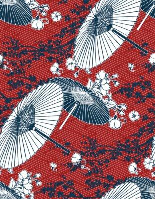 Vinilo japanese traditional vector illustration sakura umbrella pattern red