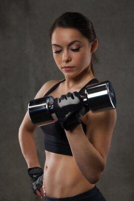 Vinilo Joven, flexión, músculos, Dumbbells, gimnasio