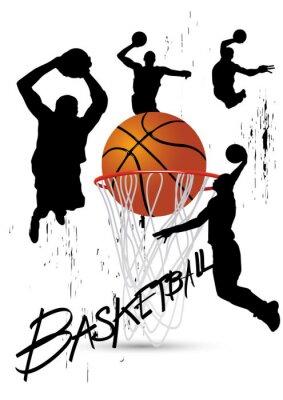 Vinilo jugador de baloncesto en la postura que salta en blanco