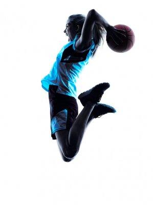 Vinilo jugador de baloncesto silueta de la mujer