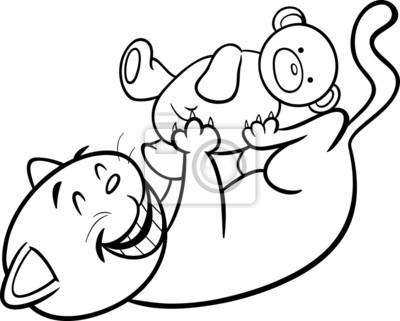 Jugando al gato para colorear de dibujos animados vinilos para ...