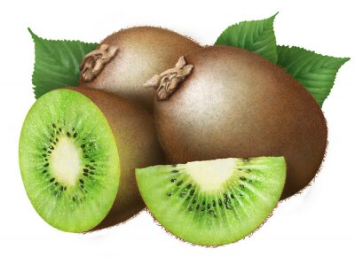 Vinilo jugoso kiwi con hojas sobre fondo blanco, frutas