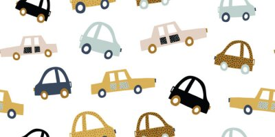 Vinilo Kids handdrawn seamless pattern with colorful cars
