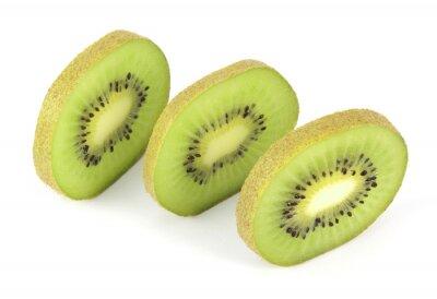 Vinilo Kiwi fruit sliced segments isolated on white background