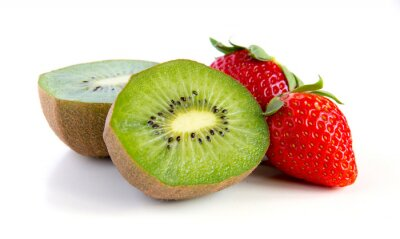 Vinilo kiwi maduro y jugoso y fresa close-up