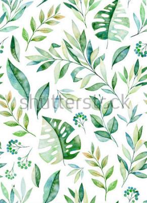 Vinilo La acuarela deja el modelo complicado de la rama en el fondo blanco. Textura con hojas verdes, ramas, hojas, hojas tropicales, follaje. Perfecto para bodas, diseño de portadas, papeles pintados, patro