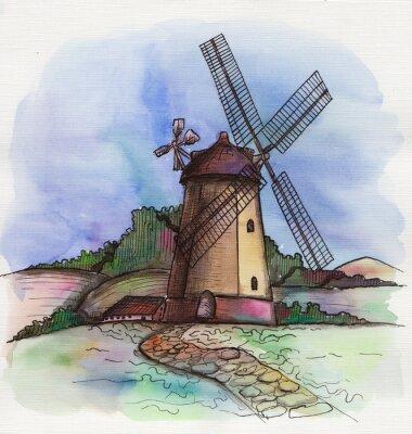 Vinilo La acuarela dibujado a mano molino de viento en Holanda