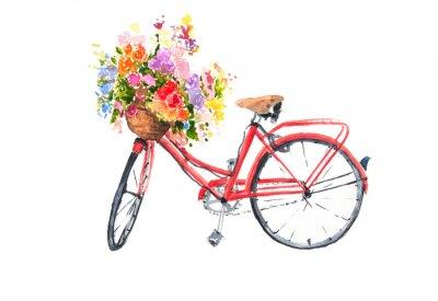 Vinilo La bicicleta retra roja con las flores coloridas en la cesta, ilustrador de la acuarela, arte de la bici, se puede utilizar para la decoración casera