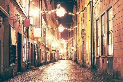 Vinilo La calle de la noche en Gamla Stan, Estocolmo.