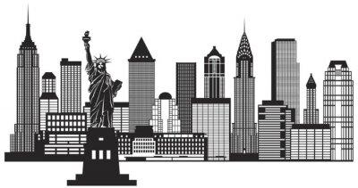 Vinilo La ciudad de Nueva York Skyline Negro y Blanco Ilustración vectorial
